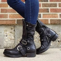 winter boots womens boots retro trend womens high top knight boots locomotive foreign trade plus size tooling boots
