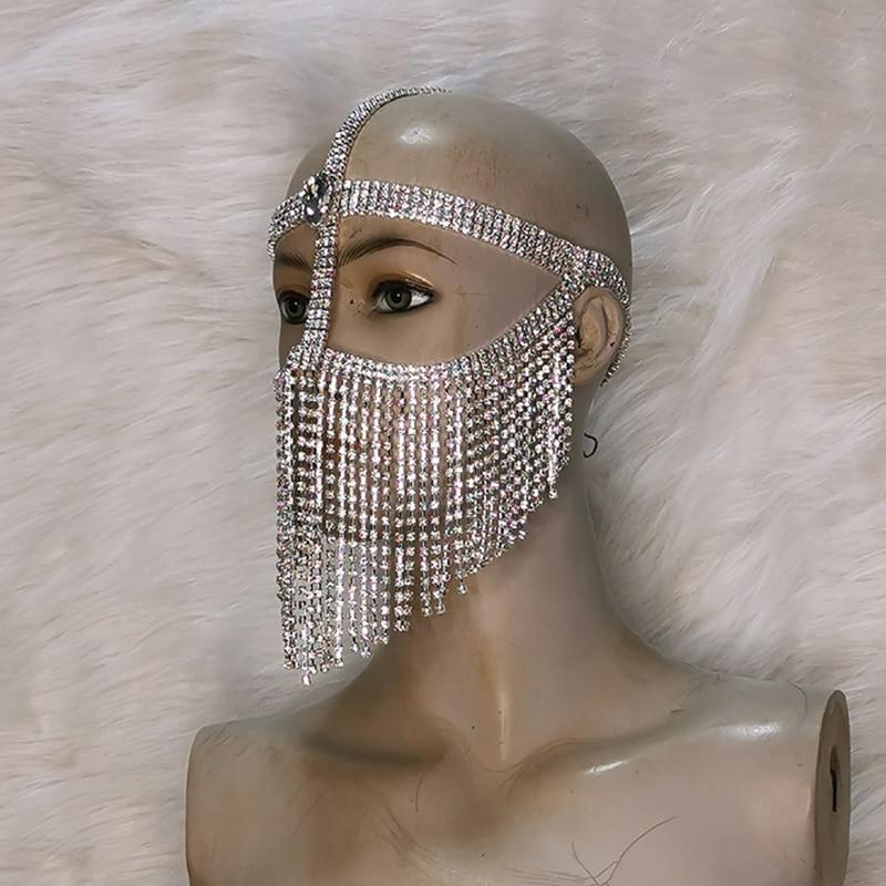 جديد اليدوية تنكر ازياء للنساء بلينغ الشرابة الحجاب كريستال الماس هالوين مجوهرات سلسلة الوجه الرقص زي حفلة