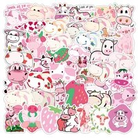 103050pcs strawberry pink milk cute cartoon graffiti sticker girl laptop skateboard sticker decorative toy wholesale