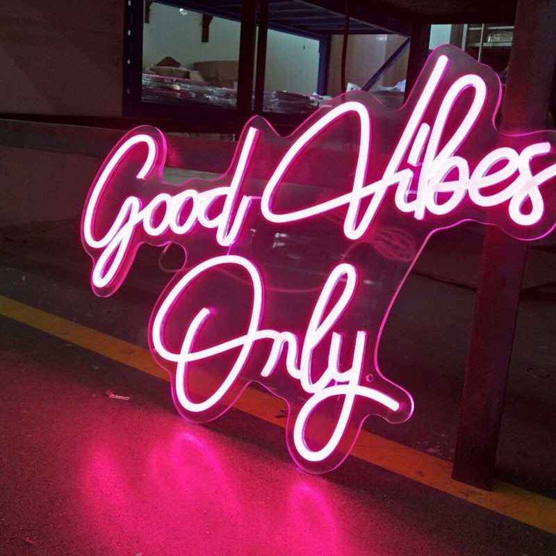 OHANEONK Custom Name Neon Sign Good Vibes Only light for Wall Hanging Art Gifts For Decoration Bar Party Sign Home Decor enlarge