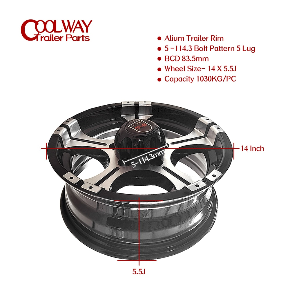 14 Inch X 5.5J Alium Trailer Rim 5 -114.3 Car Bolt Pattern Capacity 1030KG Caravan Boat RV Parts Accessories enlarge