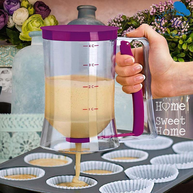 Batter Dispenser Tool Pancake Cupcake Baking Tool Waffles Muffin Mix Cups With Measuring Label Bakeware Maker Pour Food Gadget