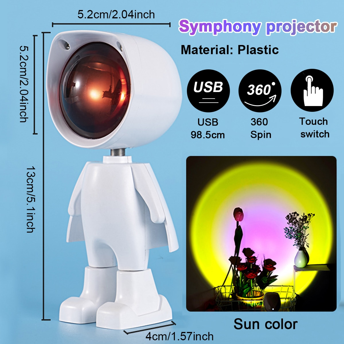 USB Sunset Night Light Projector Rainbow Atmosphere LED Lamp Photography Photo Wall Decoration Lights  - buy with discount