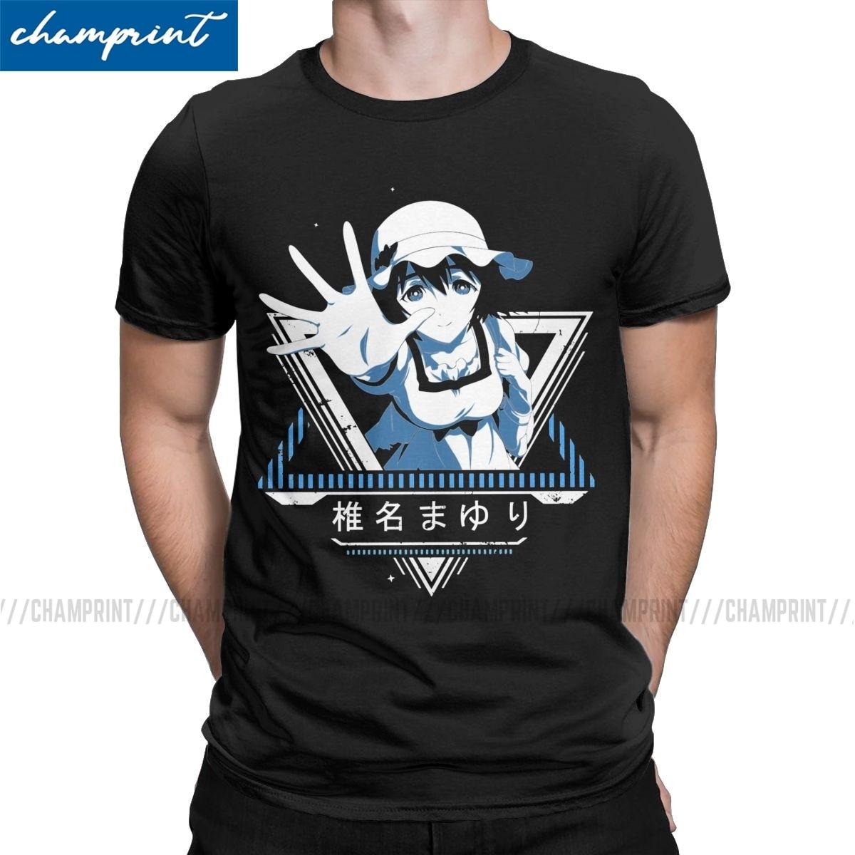 Mayuri Star Steins Gate Anime T Shirts Men Cotton Creative T-Shirts Round Collar Okabe Kurisu Tees Short Sleeve Tops Printed