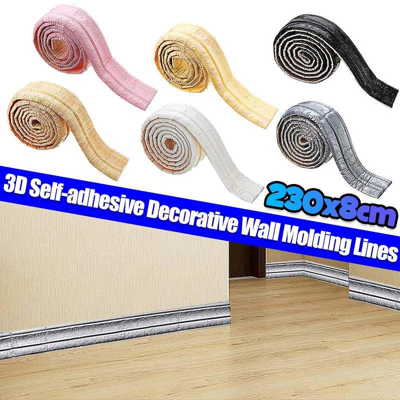 Línea de moldeado de pared 3D, pegatina de pared, impermeable, autoadhesivo, decorativo, líneas de fondo para el hogar, extraíble, cocina, baño