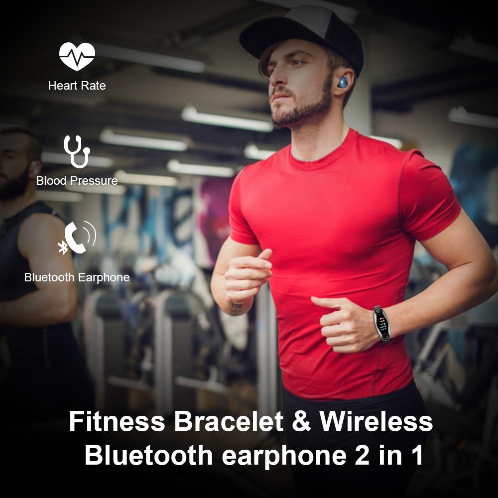 AKW LT04 T90 Fitness Bracelet Wireless Bluetooth Earphone 2 In 1 Bluetooth 5.0 Chip IP67 Waterproof Sport Smart Watch enlarge