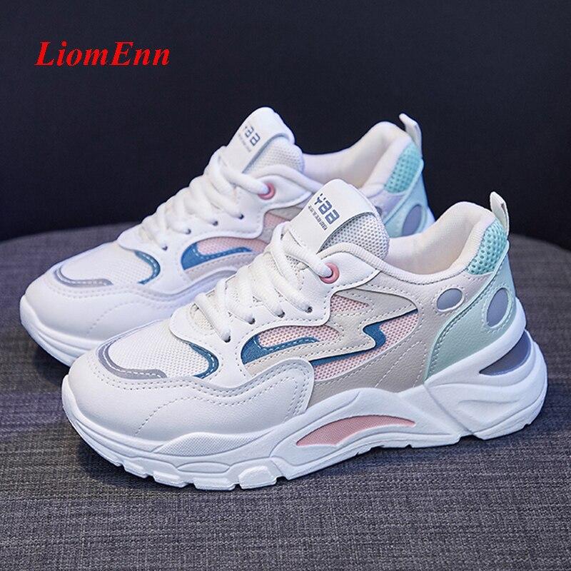 موضة أحذية رياضية نسائية 2021 منصة أحذية رياضية الصيف الأبيض مكتنزة أحذية رياضية مبركن حذاء كاجوال تنس الإناث سلة