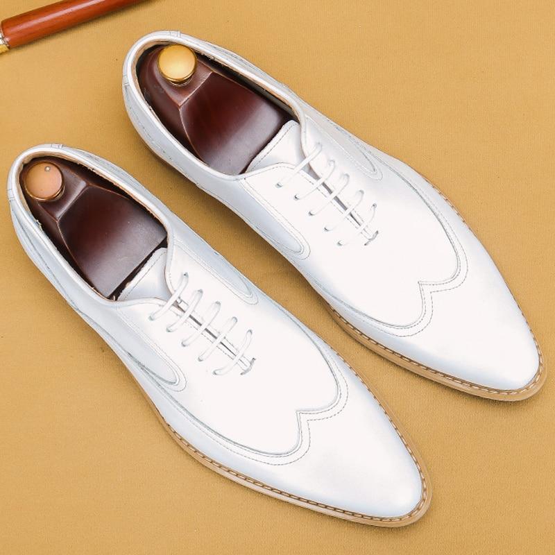 أحذية جلدية بيضاء للرجال ، أحذية رسمية ذات مقدمة مدببة ، أكسفورد ، للعمل ، الزفاف ، إيطاليا