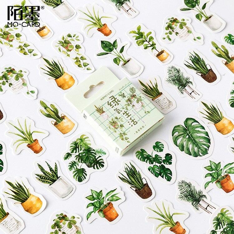 plantas-verdes-de-papel-pequeno-diario-mini-japones-lindo-caja-pegatinas-conjunto-scrapbooking-lindo-copos-diario-papeleria