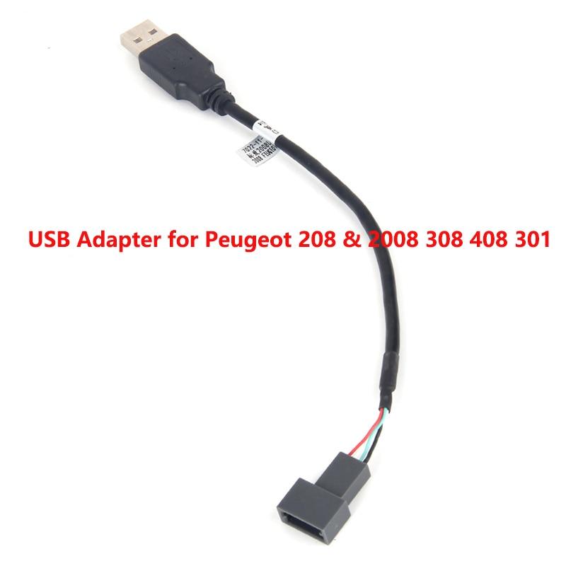 USB Adapter Connector for Peugeot 208 & 2008 308 408 301 OEM Car Radio GPS Audio KEEP Original USB Function