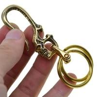 brass japanese skull fish hook keychain wallet holder belt clip wit 2 ring leathercraft accessories