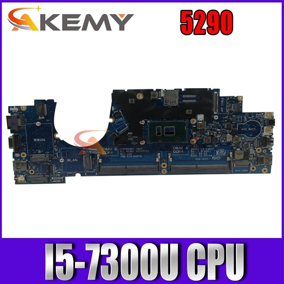 Akemy CN-YN07V YN07V لأجهزة الكمبيوتر المحمول DELL Latitude 5290 اللوحة الرئيسية LA- F391P مع وحدة المعالجة المركزية I5-7300U DDR4 اختبار 100% OK