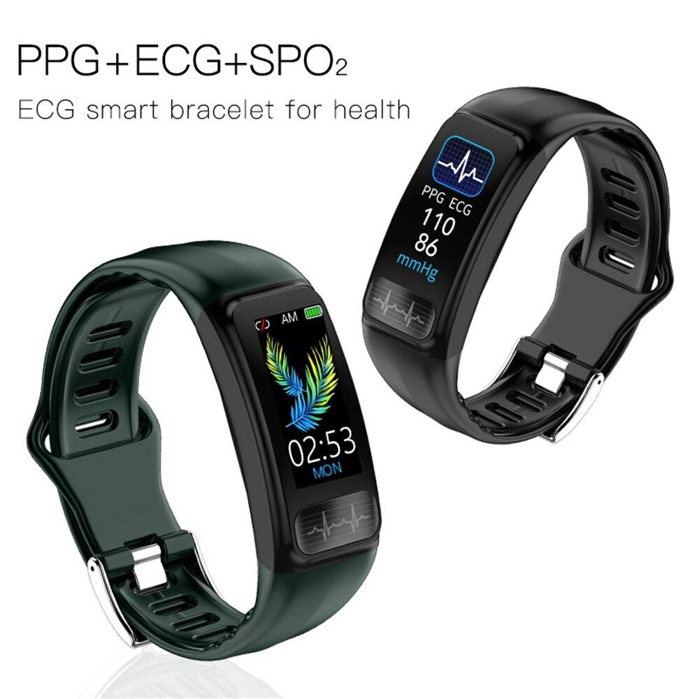 Saúde smartband ecg ppg hrv monitor de pulso cardio pulseira de fitness sono pressão arterial oxigênio p12 banda inteligente pk honra banda 5