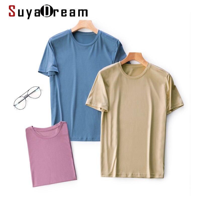 قمصان رجالية سادة من SuyaDream قميص بأكمام قصيرة ورقبة على شكل حرف V قميص بأكمام قصيرة 2021 قميص صيفي أساسي