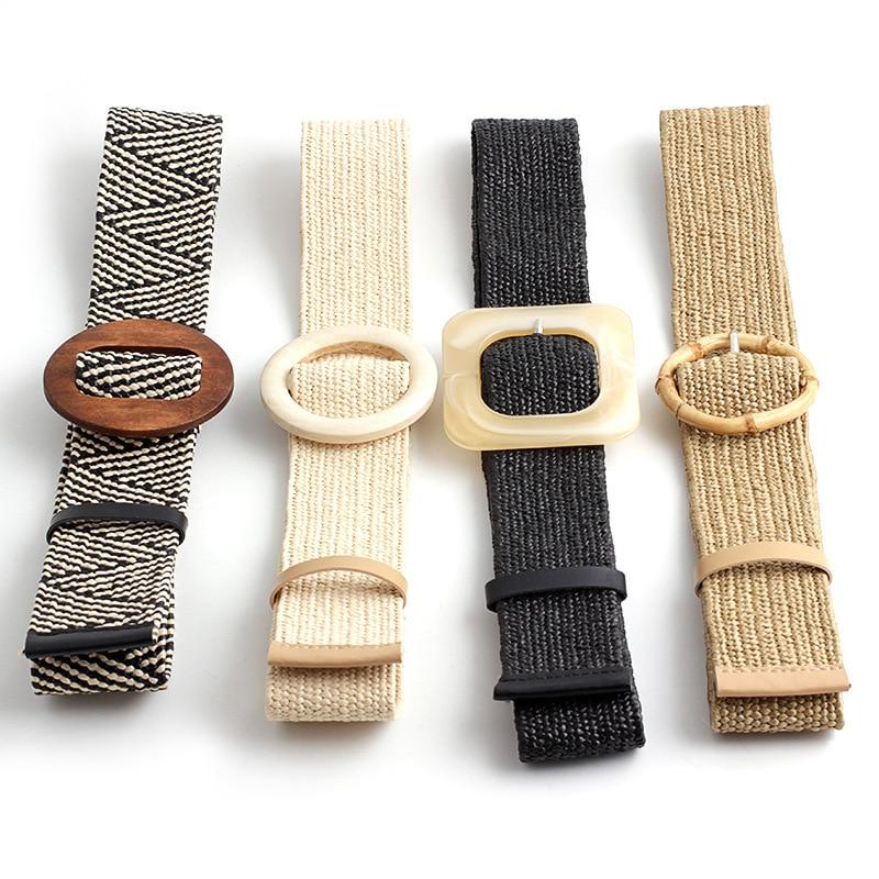 Nueva moda, Correa tejida de paja de PP con hebilla redonda de bambú, cinturón decorativo para mujer, pantalones elásticos salvajes, cinturón con patrón geométrico