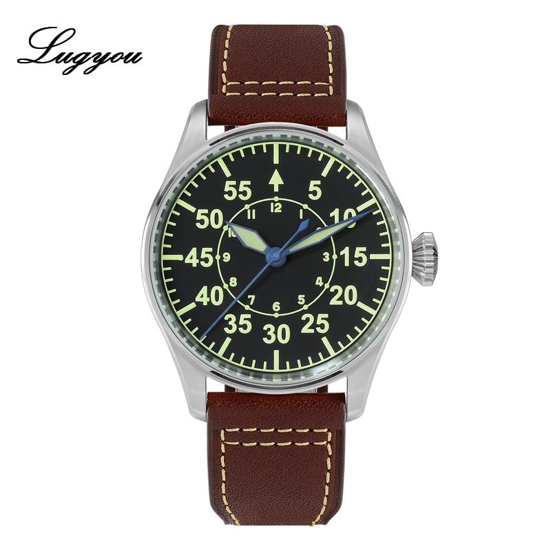 Lugyou San Martin механические пилот Flieger мужские часы из нержавеющей стали с скелетом сзади водонепроницаемые синие стрелки супер светящаяся кожа