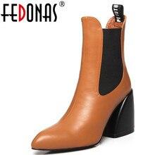 FEDONAS nouvelle qualité en cuir véritable dames classique Chelsea bottes hiver femmes bout pointu bottines chaussures de fête de bal femme