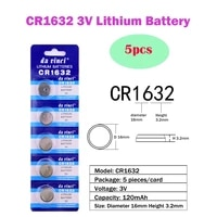 5pcs1card cr1632 3v lithium button battery 120mah ecr1632 br1632 lm1632 cell coin batteries for watch electronic toy remote