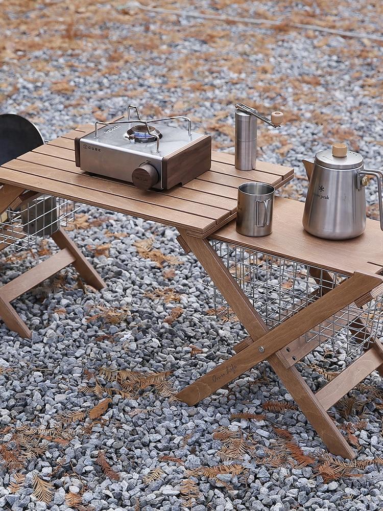 طاولة قابلة للطي متعددة الوظائف للاستخدام في الهواء الطلق ، وسلة مكتب للتخييم والشواء مع معدات طاولة عمل خشبية
