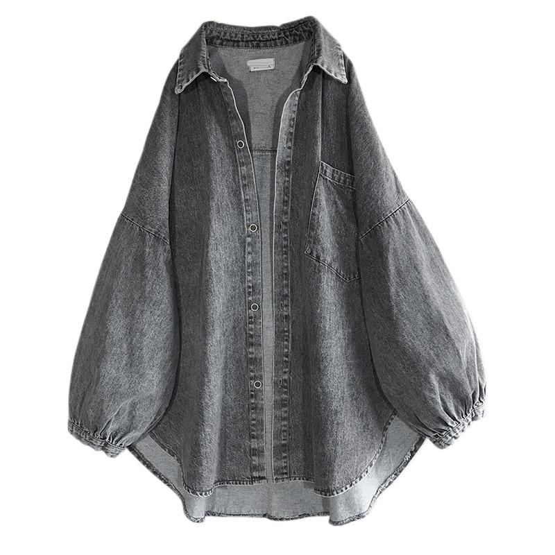 SuperAen الشارع الشهير الربيع والخريف رعاة البقر معطف المرأة غسلها تفعل موضة فضفاضة كبيرة الحجم قميص دينيم المرأة بلايز