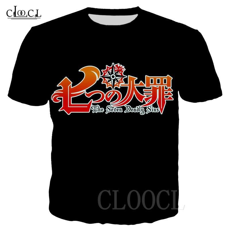 Camiseta con Logo de los siete pecados capitales, camiseta de gran tamaño de Anime, camiseta de moda con estampado 3D, ropa deportiva informal, camiseta de gran tamaño para hombres y mujeres