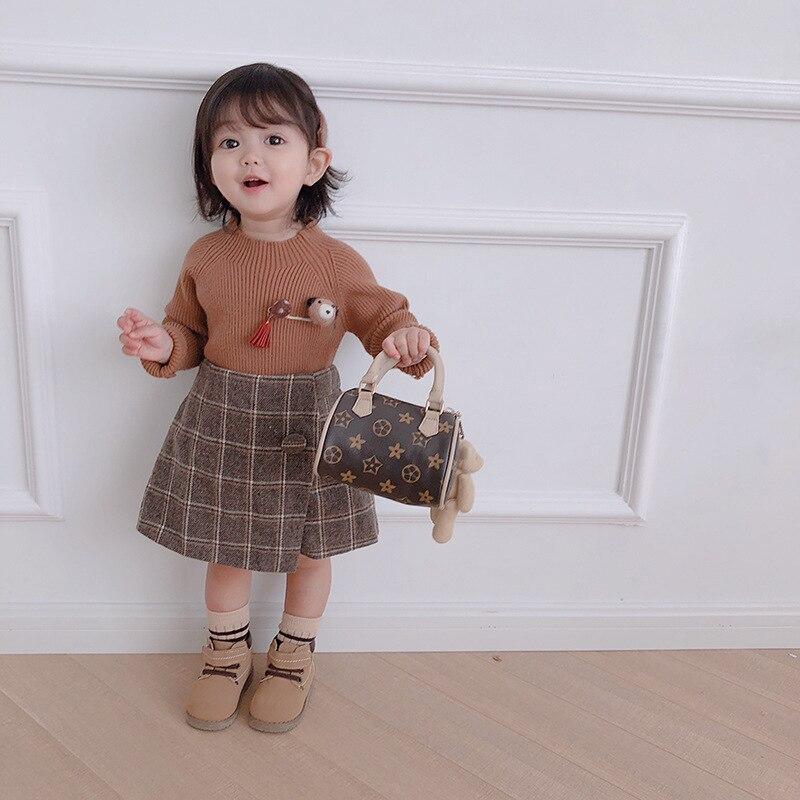 Suéter de niña 2019 invierno y otoño suéteres de punto puros y simples para niños edición coreana suéteres casuales 9m 1 2 3 4 5 6T