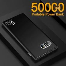 New Ultra-thin 50000mAh Power Bank with 2 USB Ports Digital Display Outdoor Travel Portable Powerban