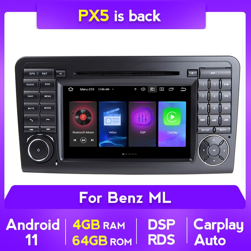 7 بوصة أندرويد 11 4G 64G لتحديد المواقع مشغل أسطوانات للسيارة راديو لاعب لمرسيدس بنز GL ML الفئة W164 X164 ML450 ML500 GL320 GL450 carplay BT DSP