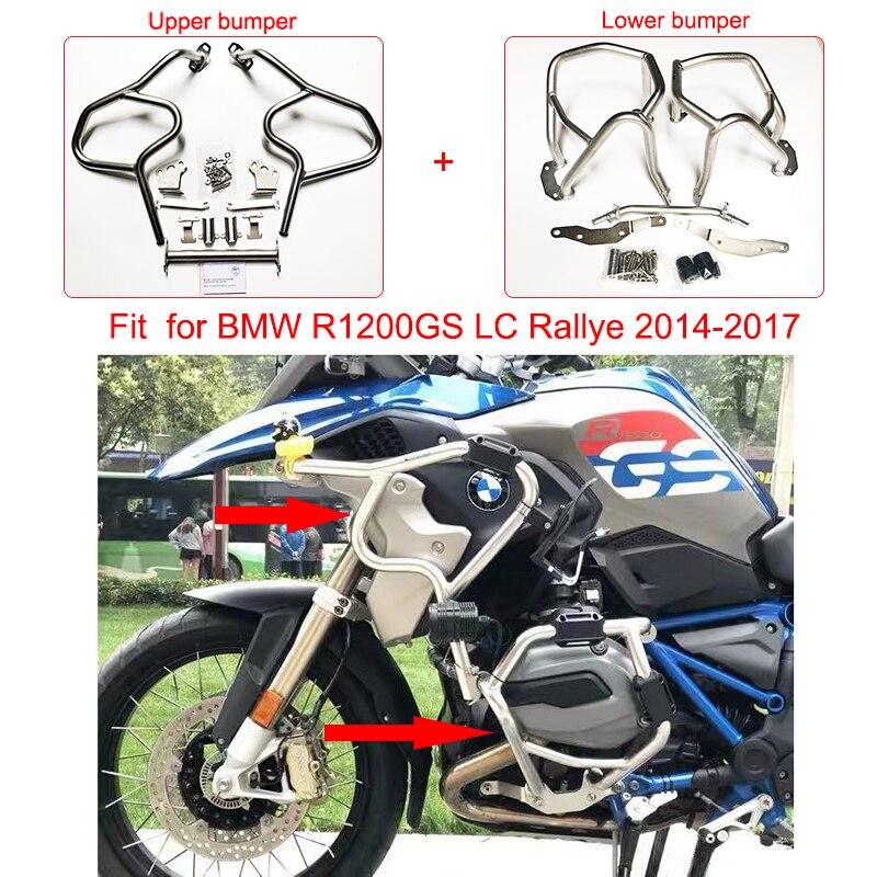 Quadro de motor para motocicleta r1200gs, protetor superior e inferior para barras de batida, estrada para bmw r1200 gs lc 2014 2015 2016 2017