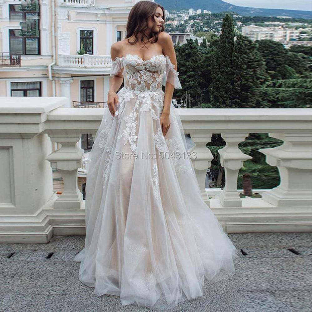 Sweetheart A Line Wedding Dresses Off Shoulder Champagne Liner Tulle Appliques Sleeveless Bridal Gowns Womens Formal 2021