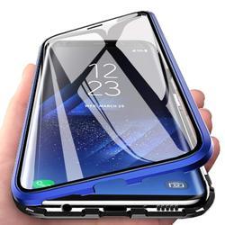 Caixa de metal de absorção magnética para samsung galaxy a20 a30 telefone de vidro dupla face capa traseira samsunga20 galaxy ya30 saco