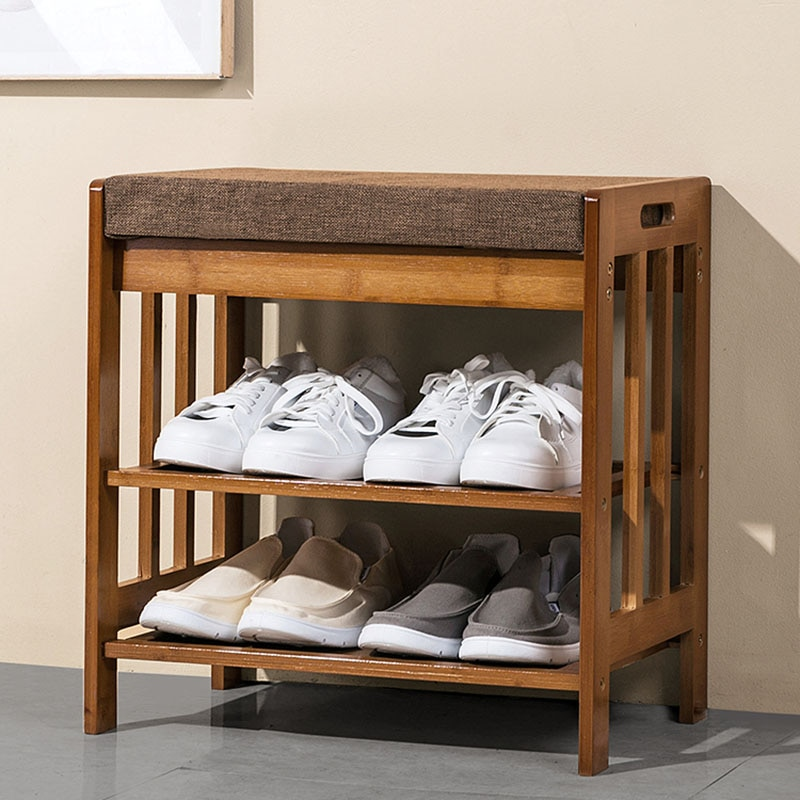 منظم تصميم رف الأحذية الصغيرة الشمال الخيزران الخشب رف تخزين المنزلية الحديثة مدخل بسيط Zapatero مع مقعد HX50XG