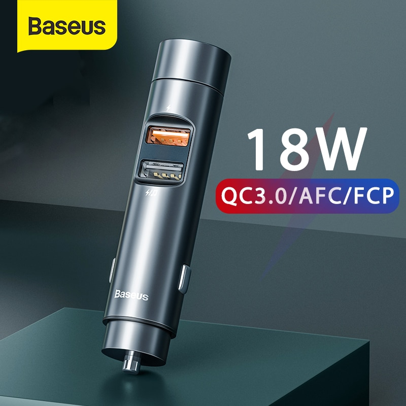 Baseus FM المغير الارسال بلوتوث 5.0 سيارة يدوي عدة 18 واط PPS المزدوج USB شاحن سيارة لاسلكي راديو FM مشغل MP3