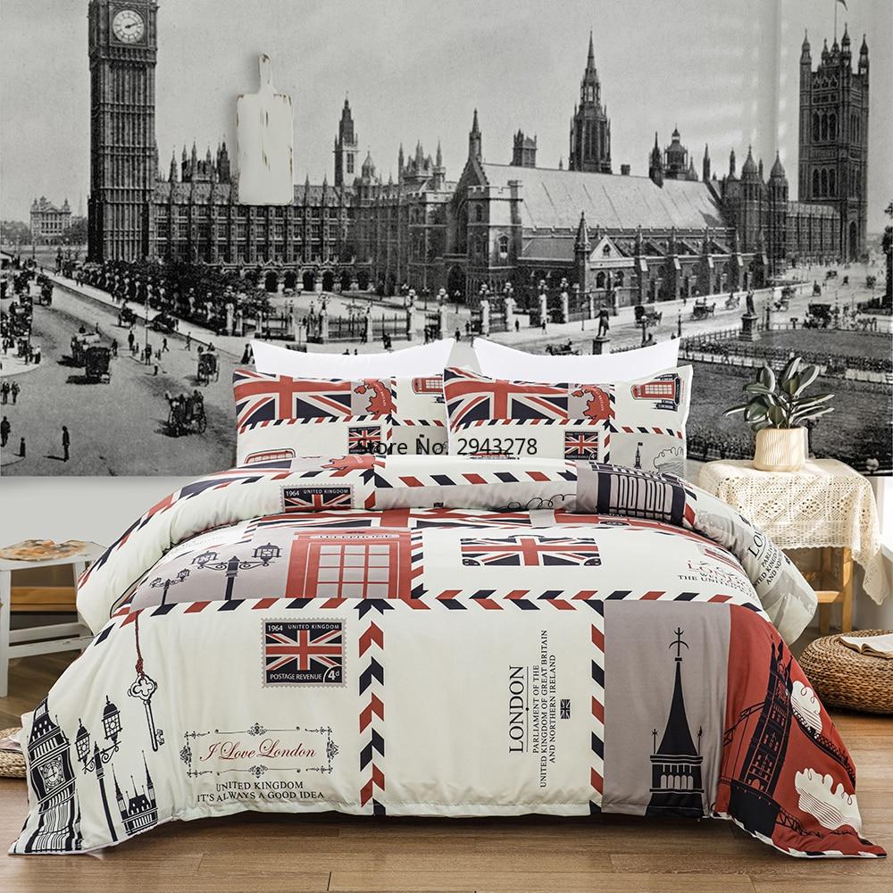 3D Retro Stamp UK Union Jack Flag London Prtinted Scenery Symbol Big Ben Red Telephone Booth Bus Bedding Quilt Duvet Cover Set