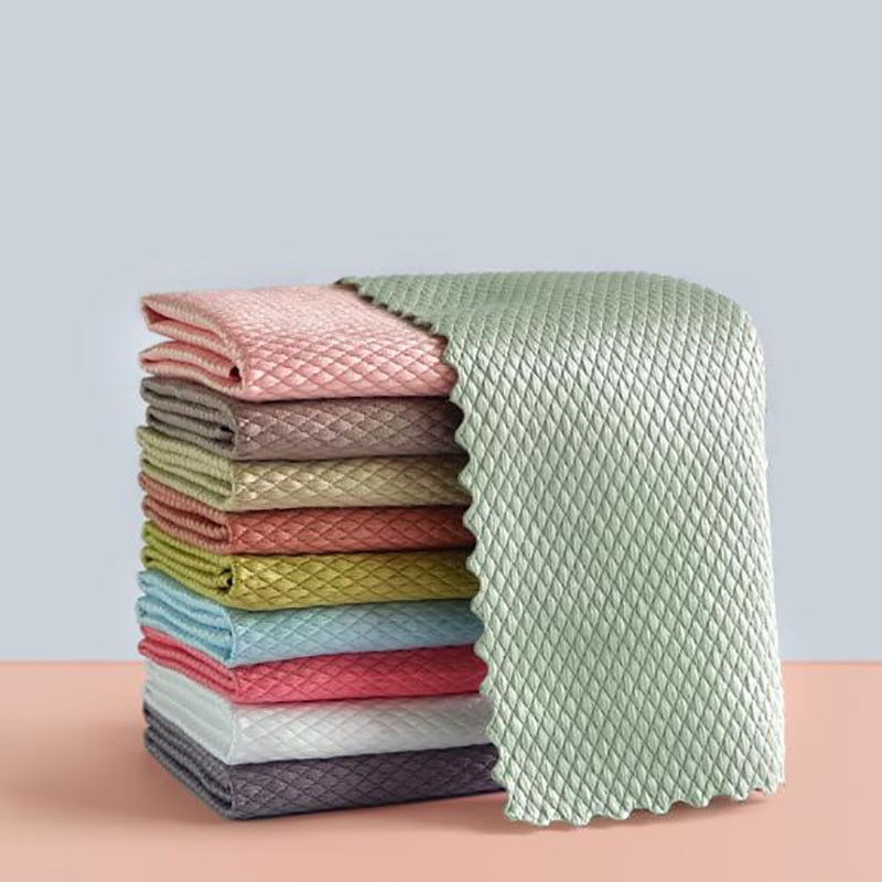 5pcs kitchen anti grease washing dish cloth wiping rags super absorbable window glass cleaning cloth microfiber cleaning towel 5Pcs Kitchen Anti-Grease Wiping Rags Efficient Fish Scale Wipe Cloth Cleaning Cloth Home Washing Dish Cleaning Towel