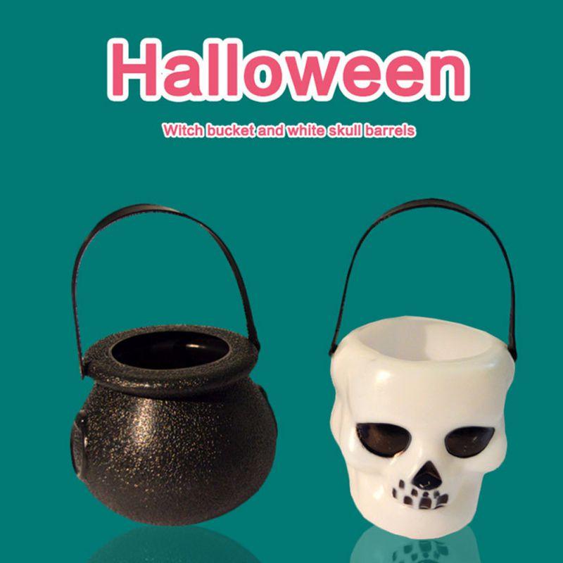 Tarro de caramelos portátil para Halloween, tanque de cráneo de bruja hecho a mano, decoración colgante para el hogar o regalo de truco, caja de sujeción