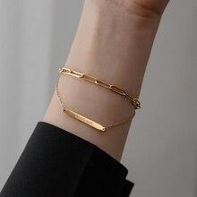 YUN RUO Vintage couleur or jaune bonne chance Double chaîne Bracelet femme homme cadeau danniversaire 316 L titane acier bijoux pas fondu