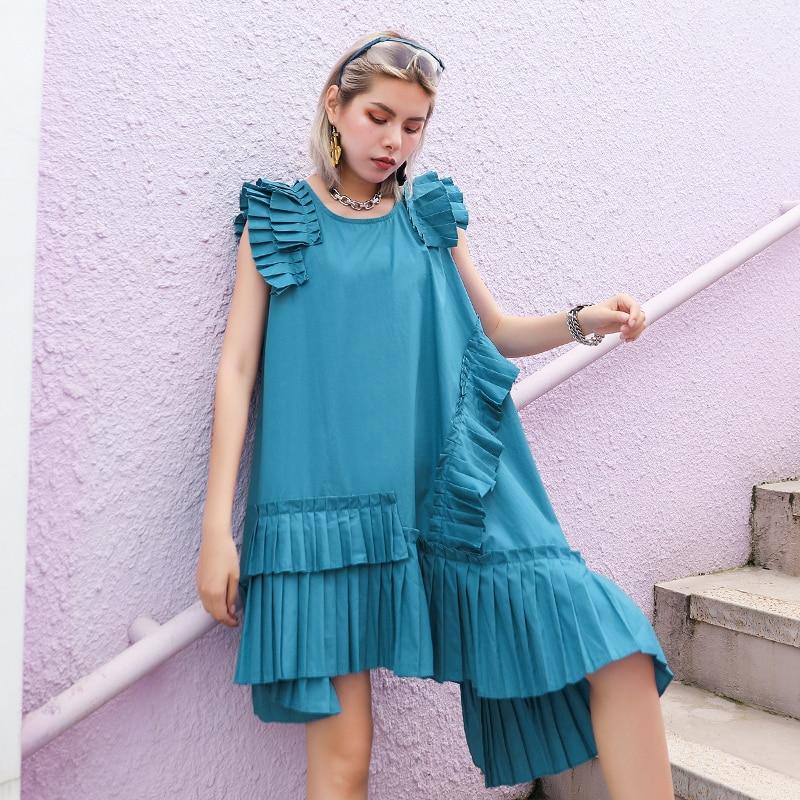 iMucci 2020 Summer Colors Dress Female Summer Large Size Gentle Wind Bellflower French Niche Irregular Fold A-line Dress