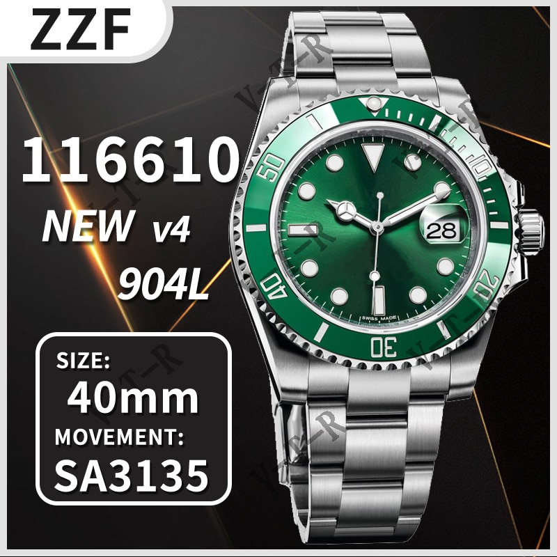 Men's Automatic Mechanical Watch 40MM Submariner 116610 Ceramics ZZF V4 904L Stainless Steel 1:1 Bes