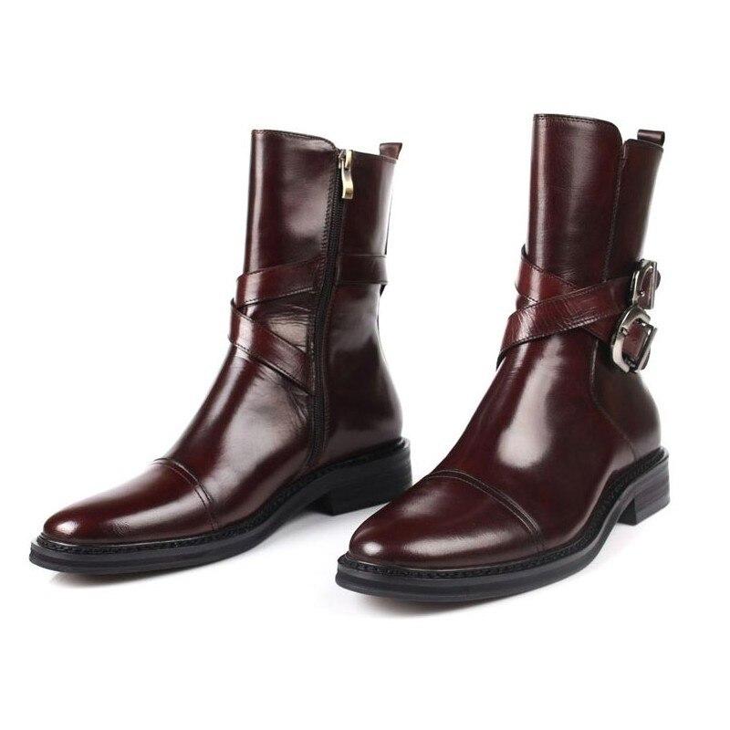 أحذية جلدية أصلية للرجال ، أحذية أمان لراكبي الدراجات النارية ، مع مشبك ، لفصل الشتاء