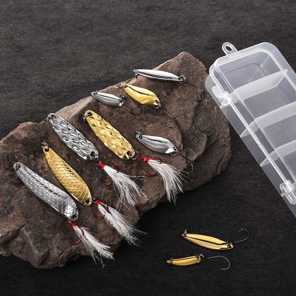 10pcs / set Metal Fishing Lure Spoon Lure With Plastic Fishing Tackle Box Hard Bait Spinner Bait enlarge