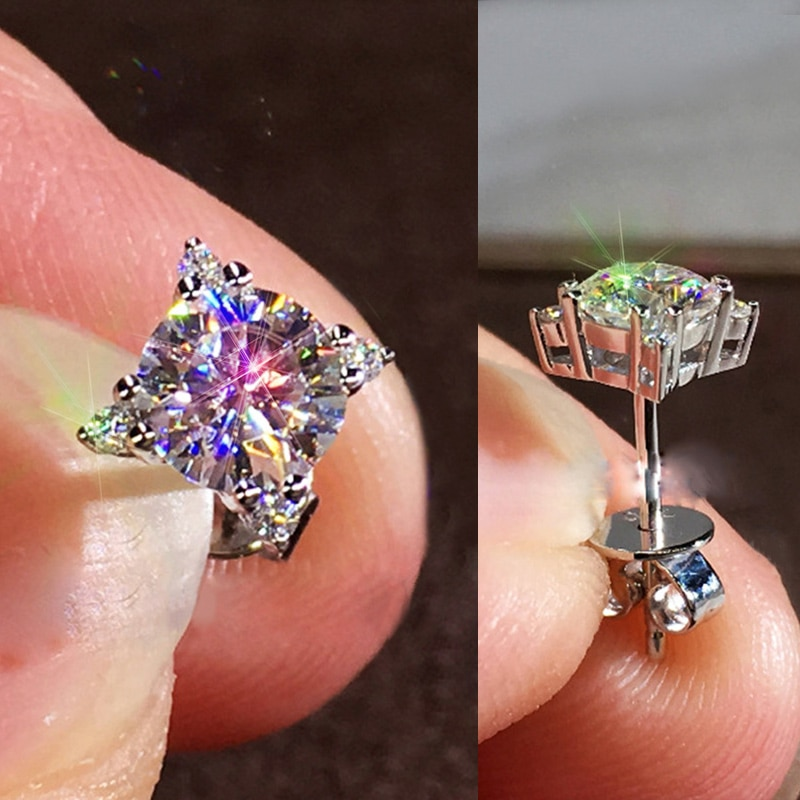 Huitan, delicados aretes pequeños para mujer, cristal brillante, Zirconia cúbica, forma cuadrada, pendiente clásico, pendiente versátil, joyería