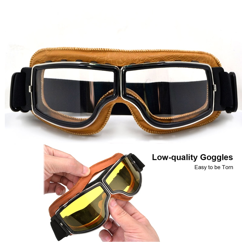 For Harley Gafas Vintage Motorcycle MX Goggles leather Pilot Motorbike Scooter Biker ski Glasses Retro Helmet Eyewear pitbike vintage motorcycle motocross goggles pilot motorbike mx flying goggles leather glasses atv retro helmet for cycling pit bike