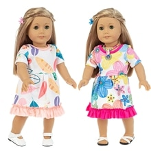 2021 New Fit 18 inch 43cm Doll Clothes Accessories Baby New Born Geometric Flower Skirt Clothes Suit