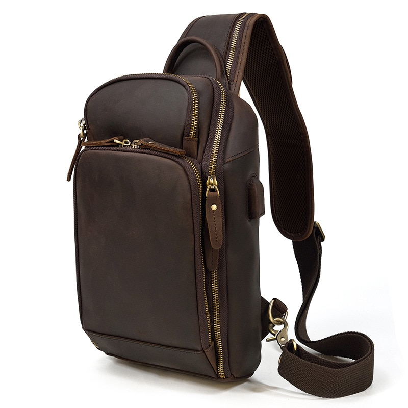 Retro men's leather chest bag USB multi-function charging cowhide messenger bag men's single shoulder bag large capacity