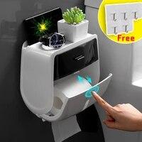 Porte-papier hygienique adhesif etanche mural rouleau etagere boite de rangement de tissu pour salle de bain organisateur WC accessoires