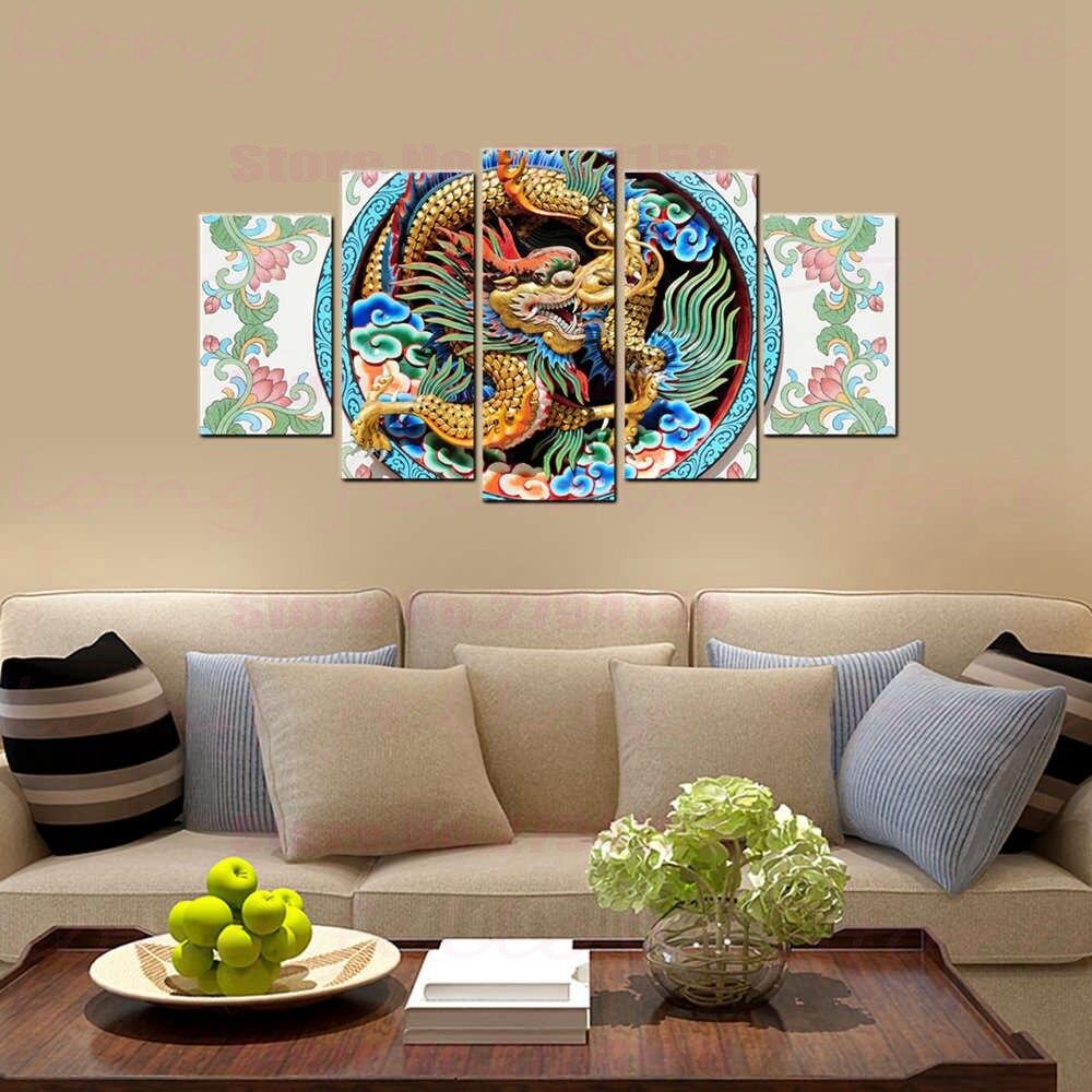 Cultura tradicional china dragón escultura Lotus Still Life paisaje imagen para comedor decoración del hogar abstracto Dropshipping