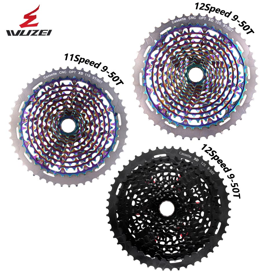 WUZEI-Cassette ultraliviano 11S 12 S 9-50T, para bicicleta de montaña MTB Flywheel rainbow 11/12g, XD k7 Compatible con, 375