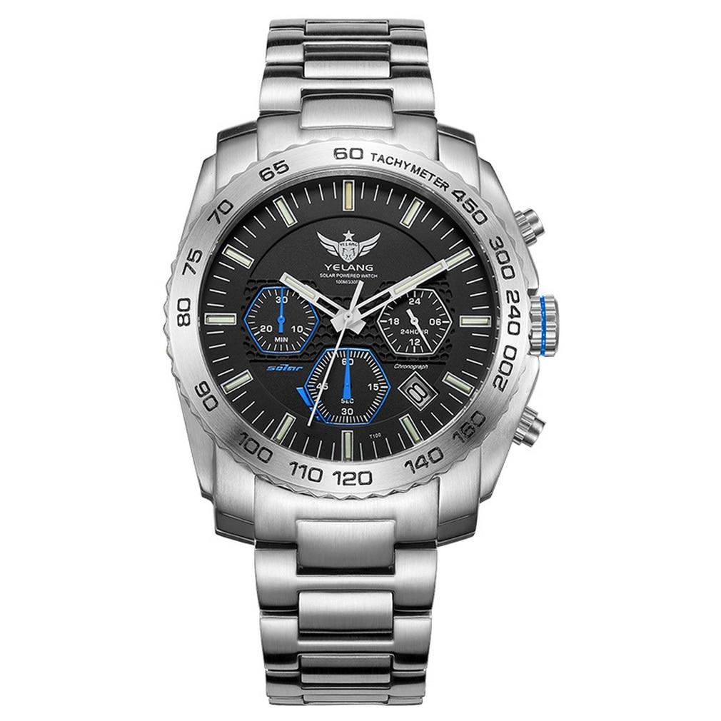 ييلانغ ساعة التريتيوم الرجالية كرونوغراف ساعات الطيار ساعة اليد ايكو محرك الشمسية 100 متر مقاوم للماء T100 مضيئة الياقوت الرياضة