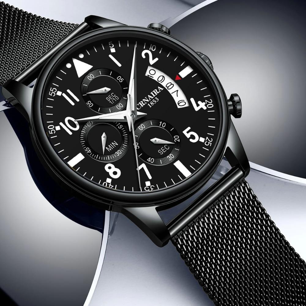 Fashion Men's Quartz Wristwatch Milanese Mesh Strap Waterproof Luxury Pilot Watches Stainless Steel